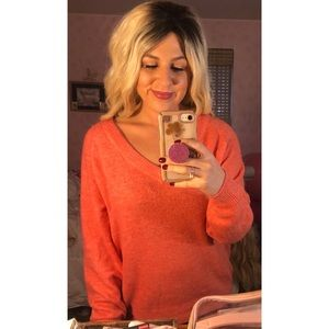 V-neck Coral Sweater